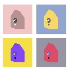 Flat icon design collection bird house vector
