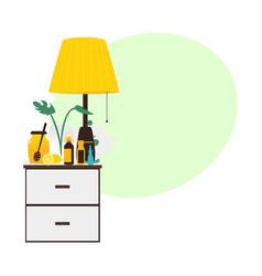 Flat style bedside table with flu medicine bottles vector