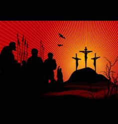 crucifixion in red vector image