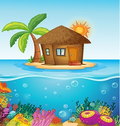 House on desert island vector