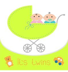 Baby carriage its twins boy and girl shower card vector