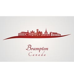 Brampton skyline in red vector