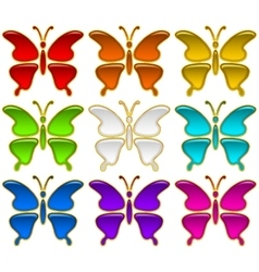Colorful buttons set butterflies vector