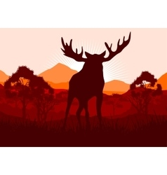 Elk in wild nature landscape vector