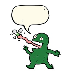 Cartoon frog catching fly with speech bubble vector