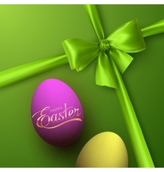 Easter eggs with holiday golden lettering vector