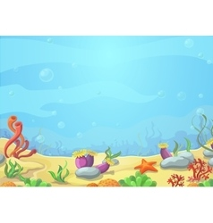Underwater world blue sea starfish vector