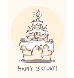 Greeting card with big birthday cake contour drawi vector