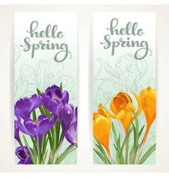 Hello spring banners with yellow and purple vector