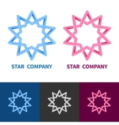 Impossible geometric star logo set colored black vector
