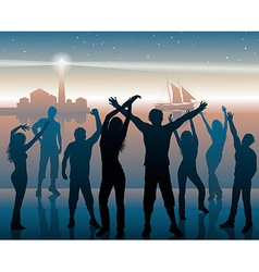 Silhouettes of people dancing at a port vector