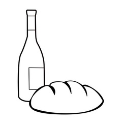 Black and white bread and wine vector