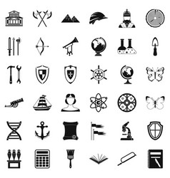 Archeology icons set simple style vector