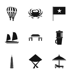 Attractions of vietnam icons set simple style vector