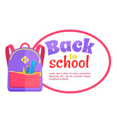 backpack for child with school stationery vector image