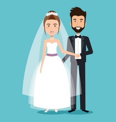 Beautiful young bride and groom couple holding vector