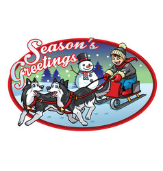 Boy riding the sleigh with his huskies dogs vector