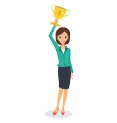 Business woman winner holding up trophy vector image vector image