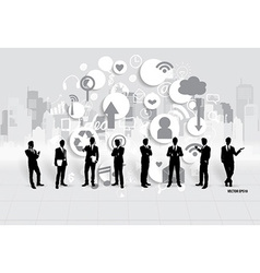 Businessman with cloud of application vector image