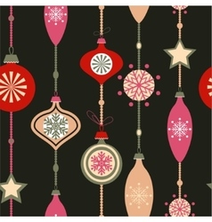 Christmas decorations on dark vector image