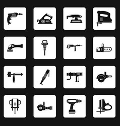 Electric tools icons set squares vector