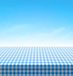 Empty picnic table covered with blue checkered tab vector image vector image