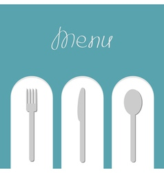 Fork spoon and knife on white arch menu card flat vector