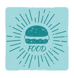 grunge food hipster badge burger vector image