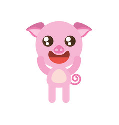 kawaii piggy animal toy vector image