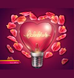 Light bulb heart shaped realistic 3d vector
