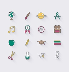 Line icons set in flat design Elements of School vector image vector image