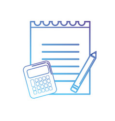 line notebook paper with calculator object and vector image vector image