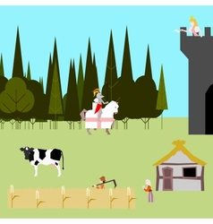 medieval life flat style peasants knight princess vector image
