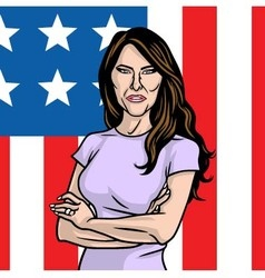 Melania trump the first lady on flag of the us vector