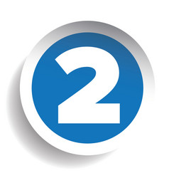 Number two sticker blue vector