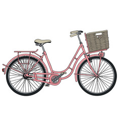Old pink bicycle vector