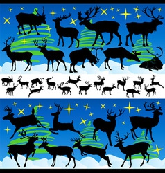 Reindeer Christmas Silhouettes and Isolated on Whi vector image vector image