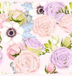 seamless pattern with anemones and roses vector image vector image