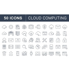 Set Flat Line Icons Cloud Service vector image vector image