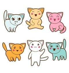 Set of kawaii cats with different facial vector