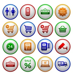 Set pictograms supermarket services vector image