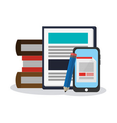 stack of books and smartphone vector image