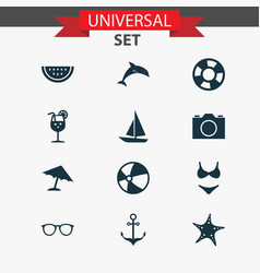 Sun icons set collection of video melon bead vector