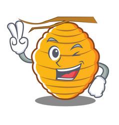 Two finger bee hive character cartoon vector