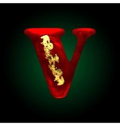 Velvet v letter with gold vector