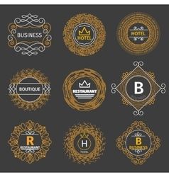vintage logos for hotel restaurant vector image vector image