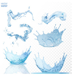 water splashes on transparent blue background vector image vector image