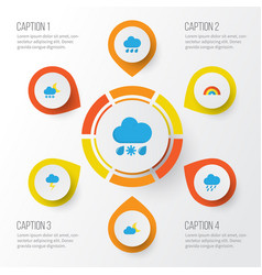 weather flat icons set collection of drizzles vector image vector image