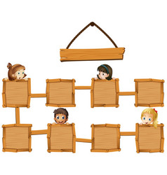 kids and wooden boards vector image