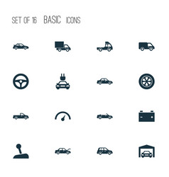 Automobile icons set collection of lorry vector